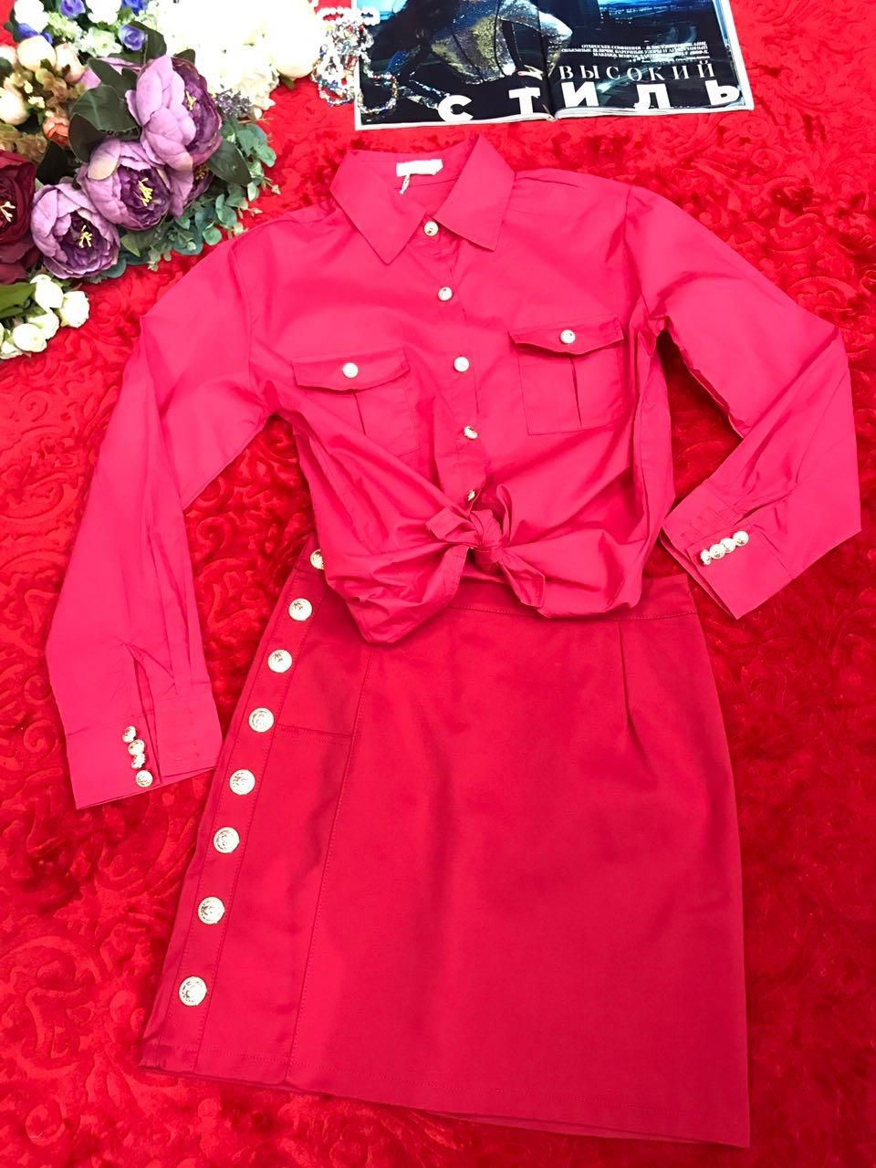 Молодежный юбочный комплект с рубашкой