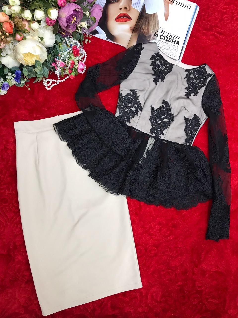 Стильный юбочный комплект с баской
