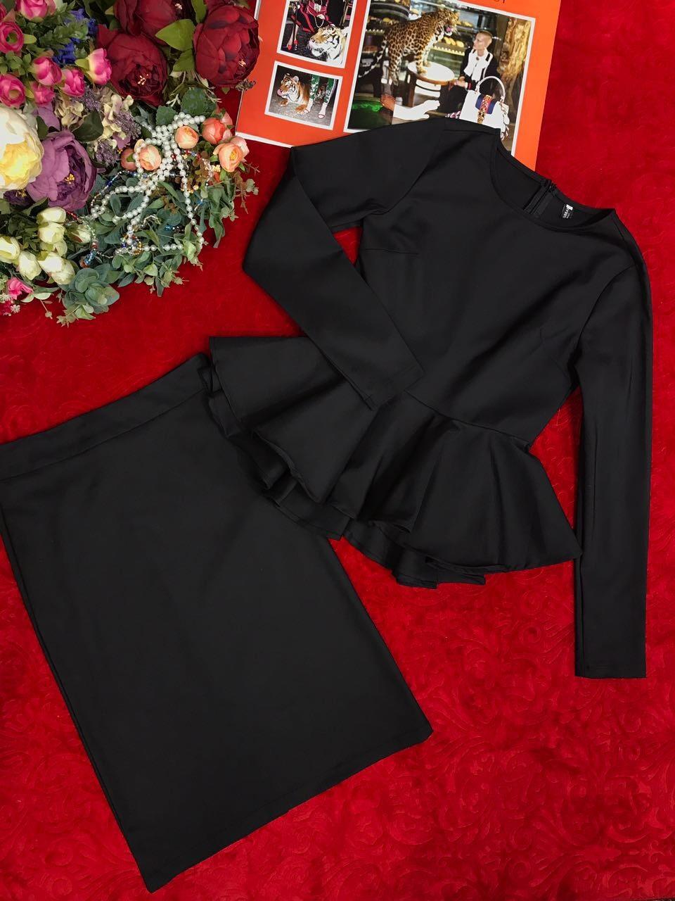 Элегантный юбочный комплект с баской