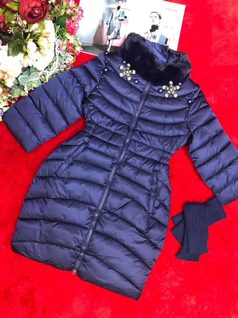 Пальто со съемными вязанными рукавами