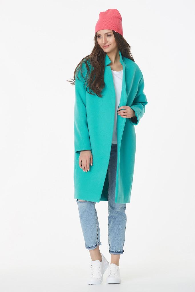 Яркое молодежное пальто с карманами