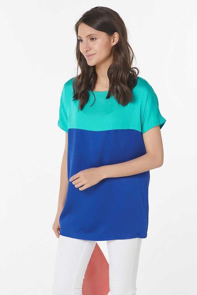 Двухцветная футболка из сатина