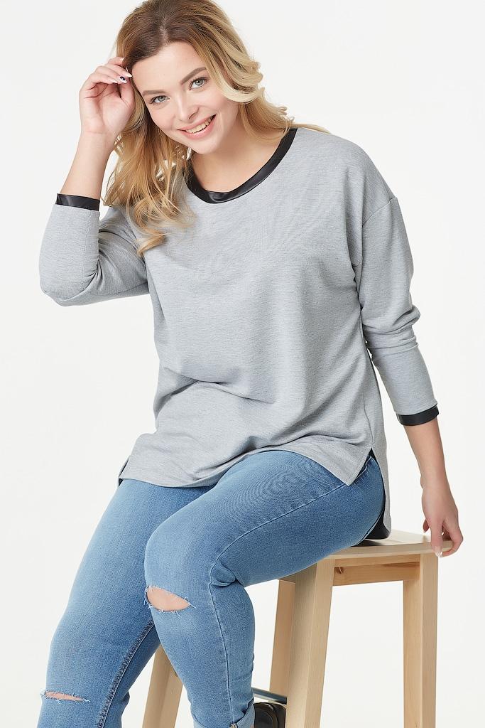 Трикотажная блуза с отделкой из экокожи