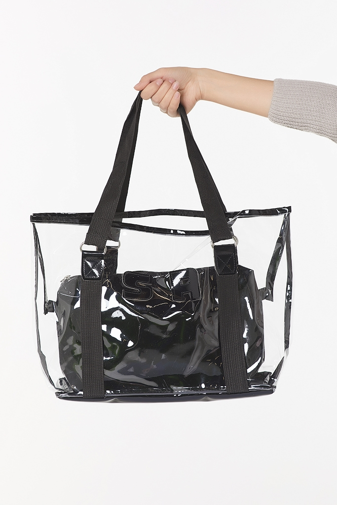 Стильная сумка из пластика и экокожи