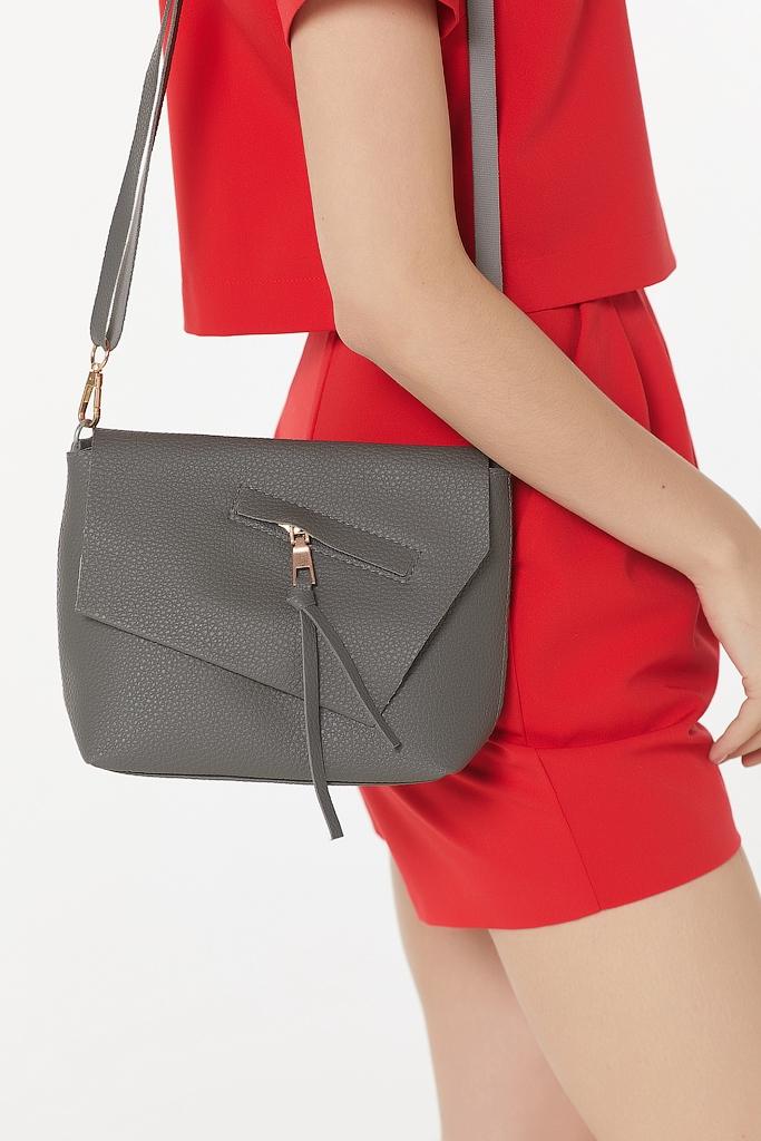 Классическая сумка из перфорированной кожи с карманом