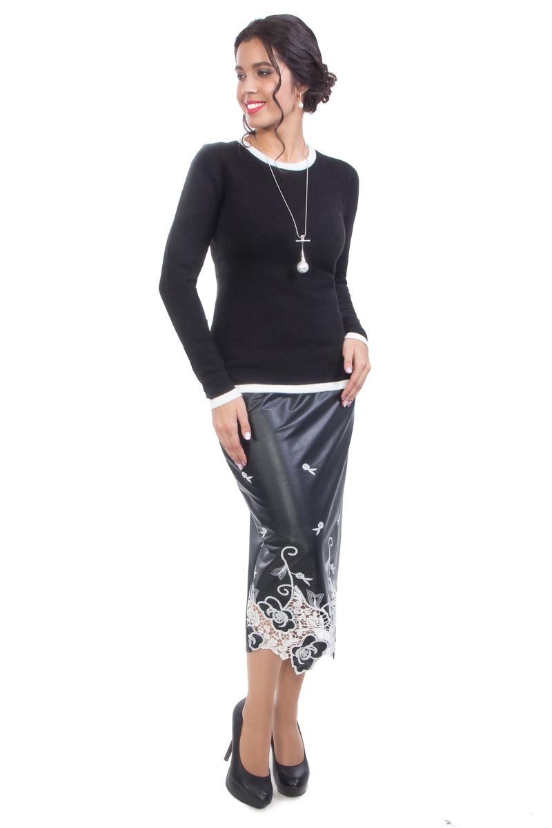 Стильная юбка из полотна имитирующего кожу