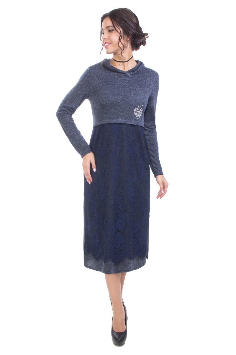Уютное платье полуприлегающего силуэт