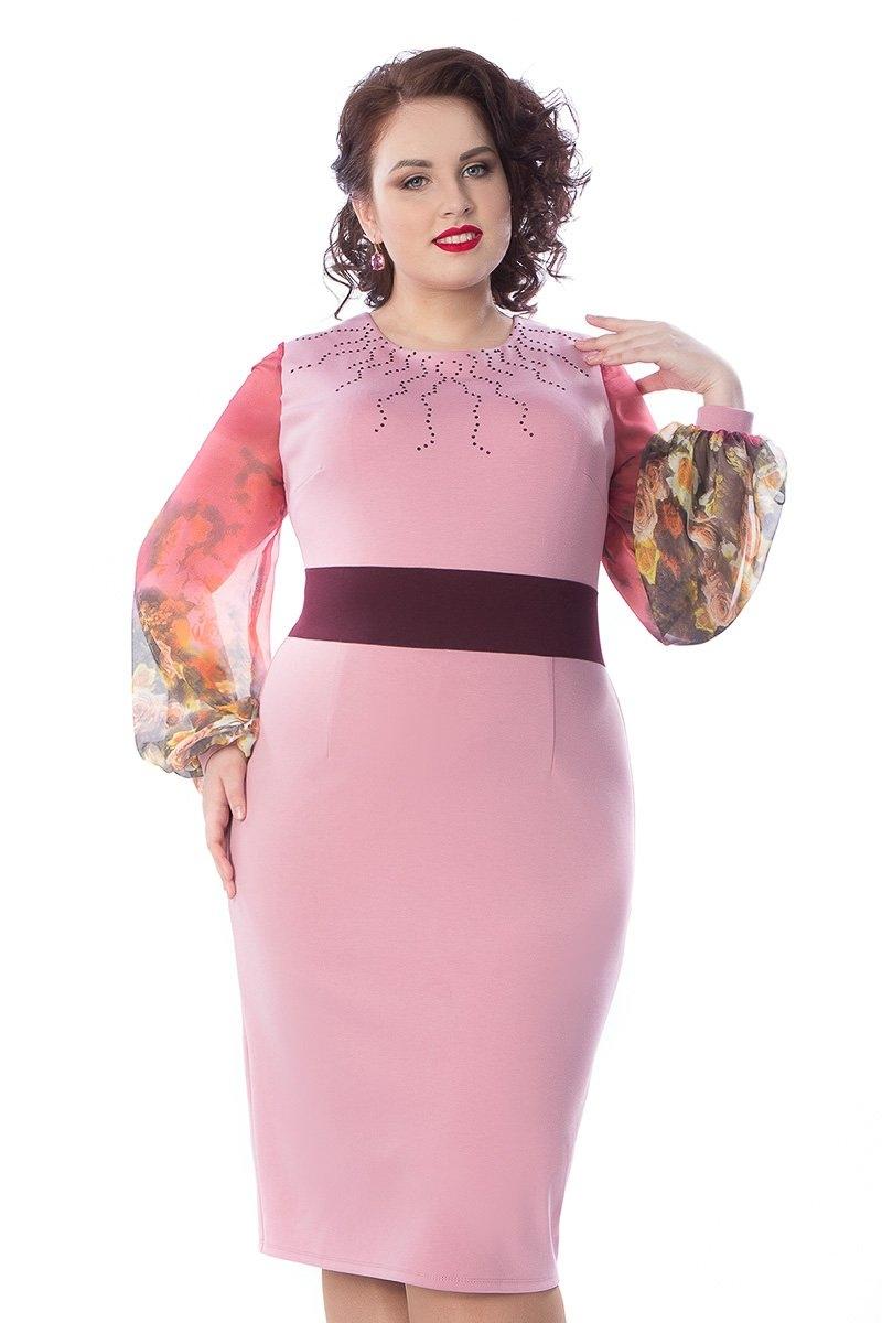 Нарядное платье с шифоновыми рукавами