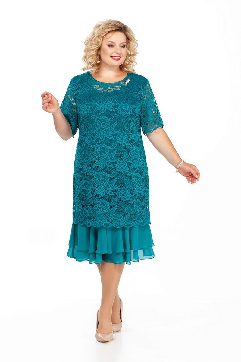 Нарядное прямое платье из гипюра с рукавом до локтя с шифоновыми воланами