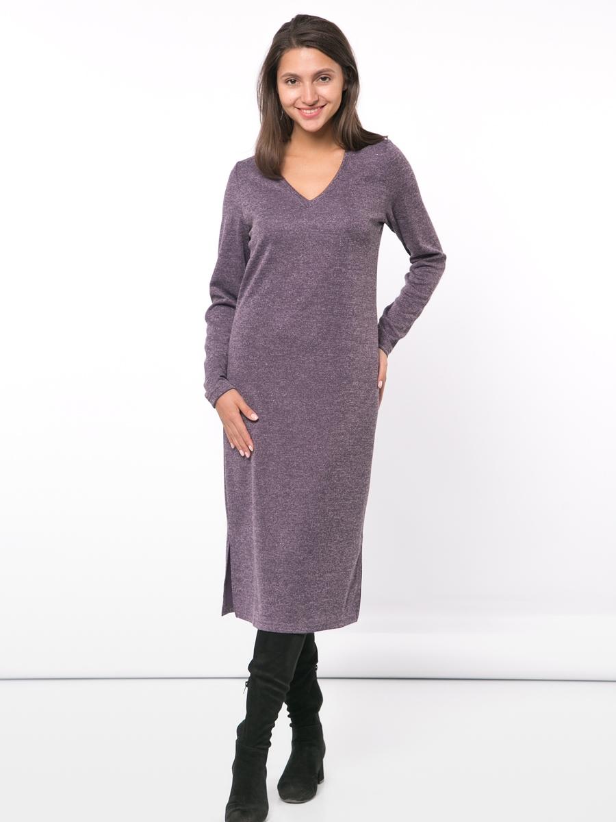 Трикотажное прямое платье с длинным рукавом и разрезами по бокам