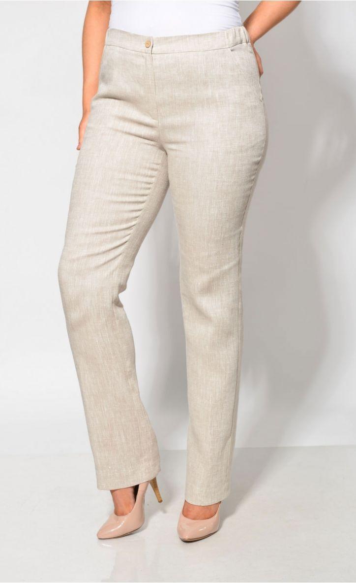 Льняные женские брюки прямого покроя