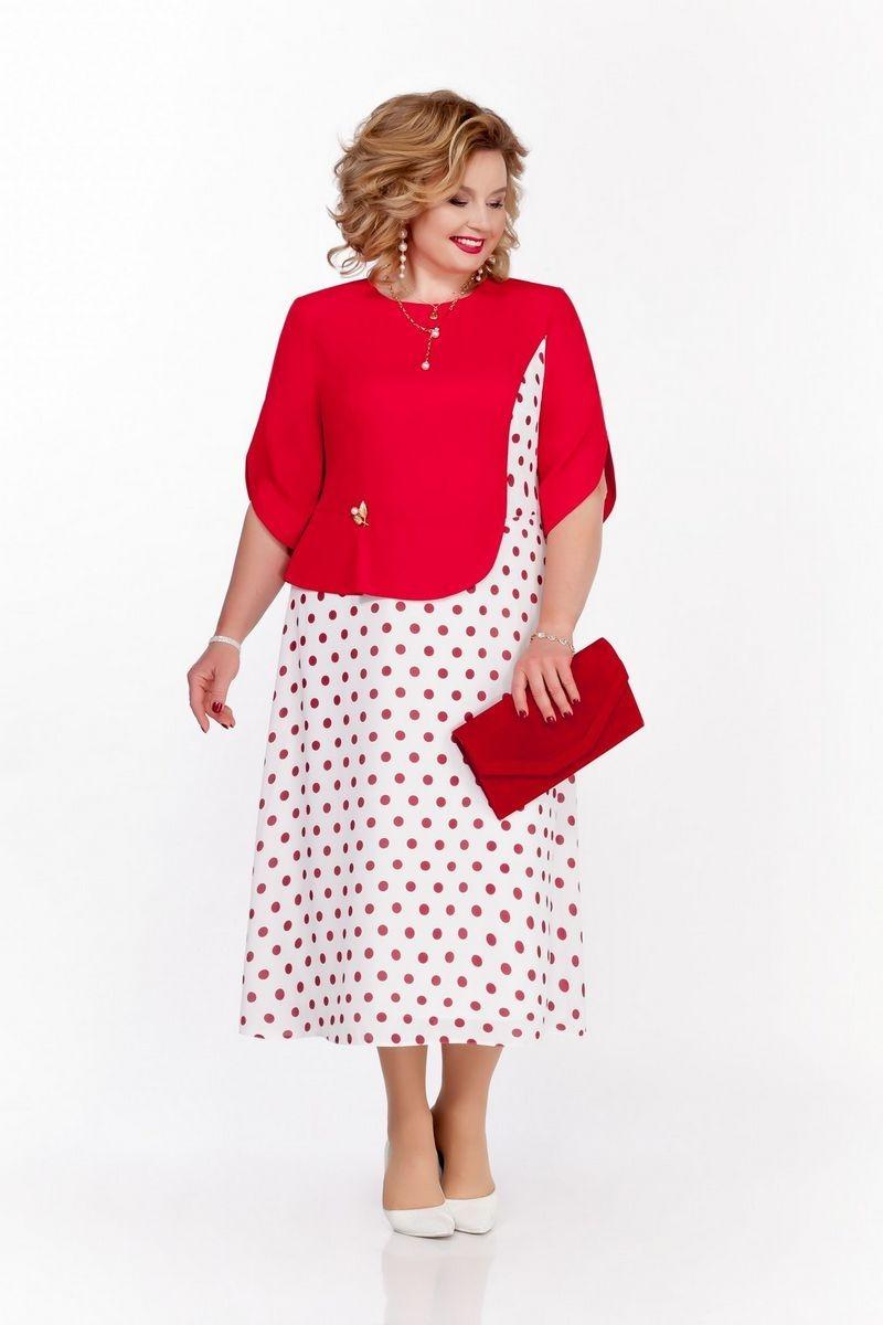 Яркое комбинированное платье на подкладке с расклешенной юбкой и круглой горловиной