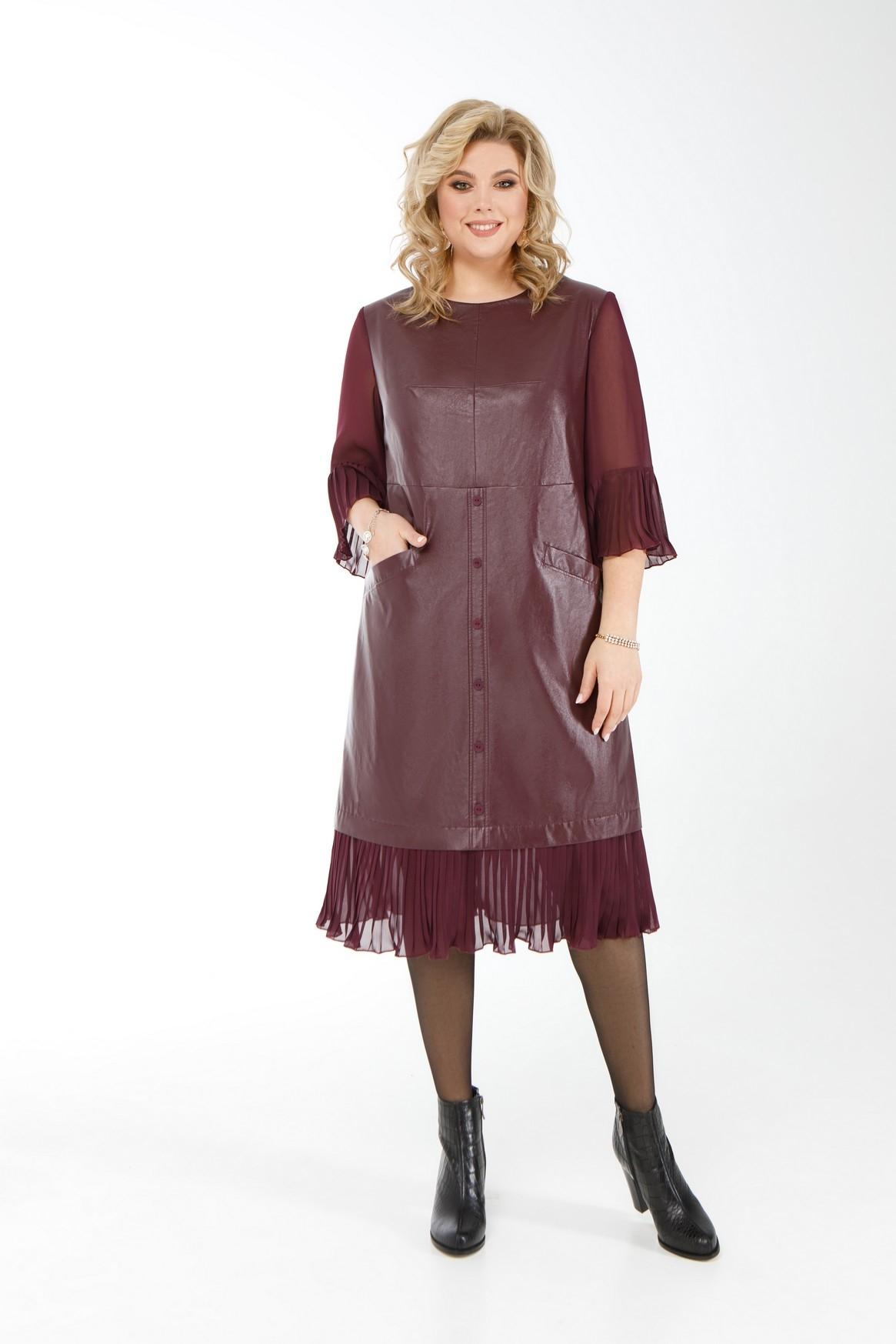 Женское платье из экокожи и шифона