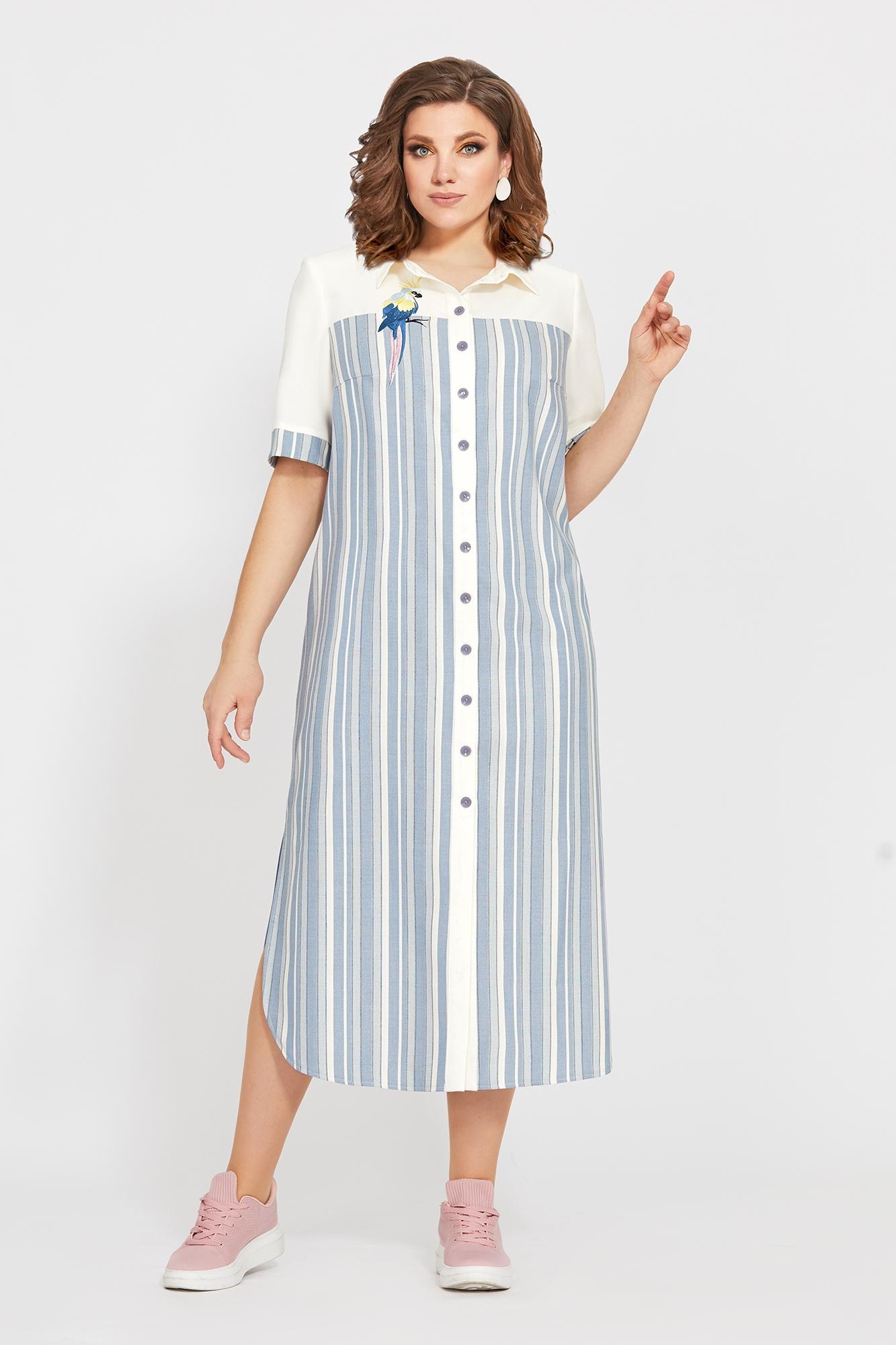 Длинное летнее платье в полоску