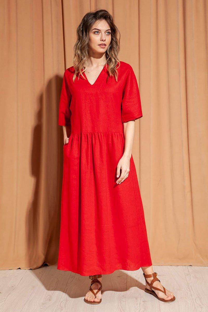 Длинное летнее платье из льна и вискозы