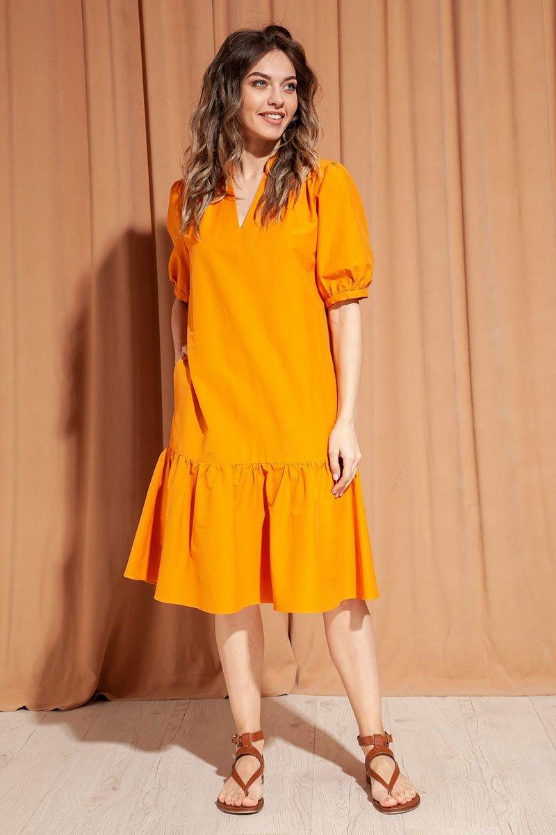 Романтичное платье из хлопка А-силуэта с широким воланом по низу
