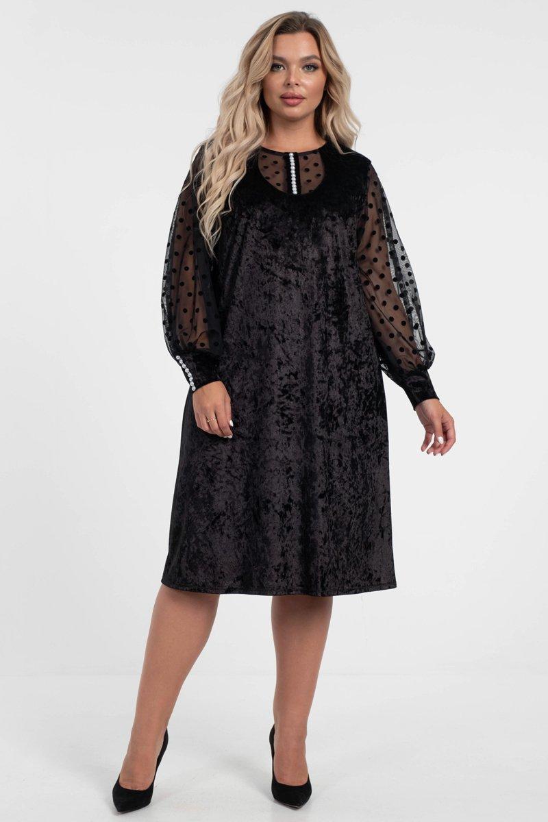 Платья из бархата черного цвета с жемчужным декором