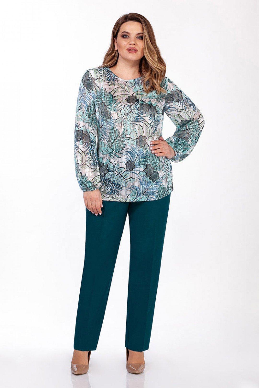 Прямая женская блузка с растительным принтом